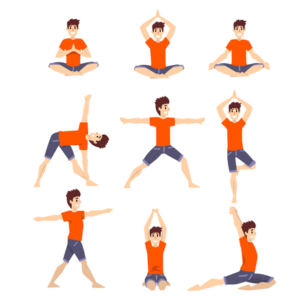 Young man in different asanas poses set, man doing yoga exercises vector Illustrations on a white background