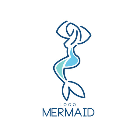 Mermaid logo, silhouette of mermaid for badge, invitation card, banner vector Illustration on a white background