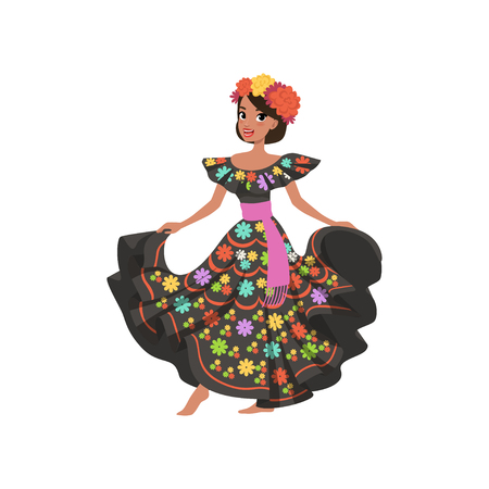Young beautiful mexican woman in black traditional national dress vector Illustration on a white background Stock Photo