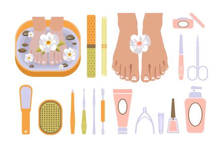 Pedicure set vector illustration