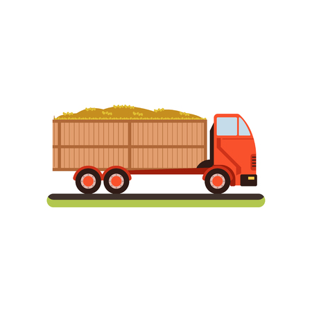 Truck full of barley grain vector illustration