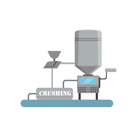 Crushing process, beer brewing production vector Illustration Vectores