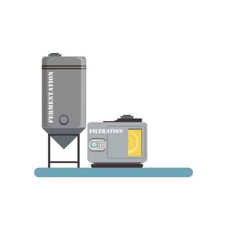 Fermentation and filtration process, beer brewing production vector Illustration  イラスト・ベクター素材