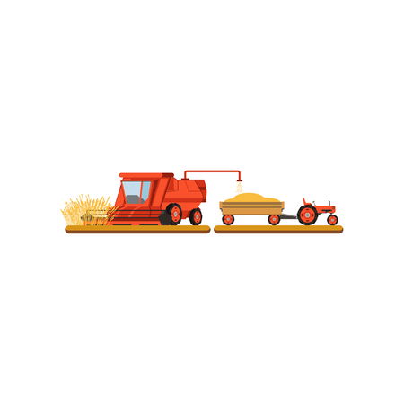Harvester mowing wheat, agricultural machinery vector Illustration