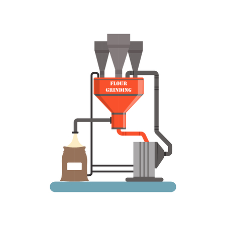 Flour grinding equipment, stage of bread production process vector Illustration Ilustração