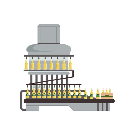 Pouring alcoholic drink in glass bottles, conveyor automatic line, beer brewing process vector Illustration Stock Illustratie