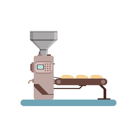 Conveyor line with bread, stage of bread production process vector Illustration on a white background Çizim