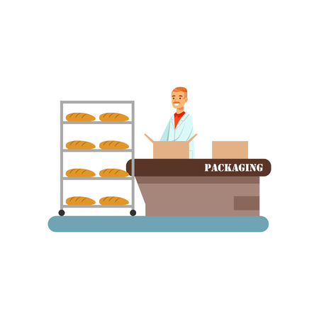 Worker packing freshly baked bread in boxes, stage of bread production process vector Illustration on a white background