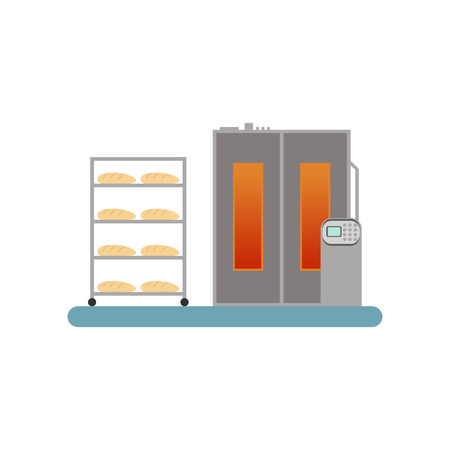 Bread baking in the oven, stage of bread production process vector Illustration on a white background