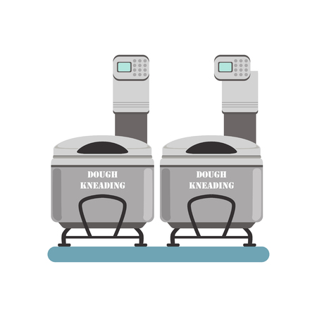 Kneading dough, stage of bread production process vector Illustration on a white background