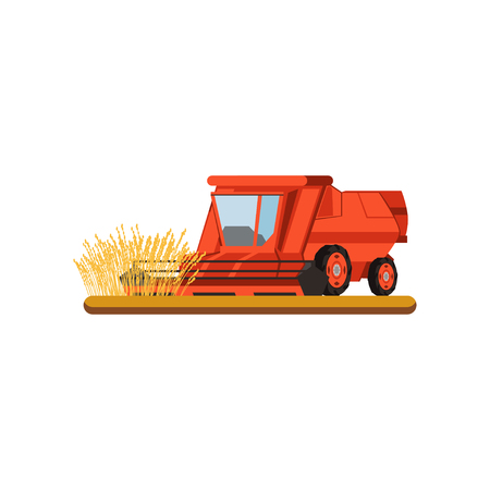 Combine harvester working in field gathering wheat, agricultural machinery vector Illustration on a white background Banco de Imagens - 100477340