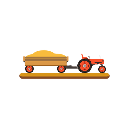 Tractor with trailer transporting grain vector Illustration on a white background Illusztráció