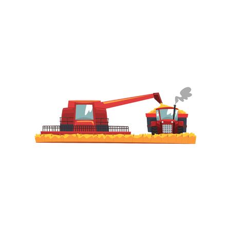 Grain combine harvester and tractor working in field, agricultural machinery vector Illustration on a white background Standard-Bild - 100477342