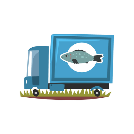Delivery service truck with fresh raw fish, seafood production, fish industry vector Illustration on a white background