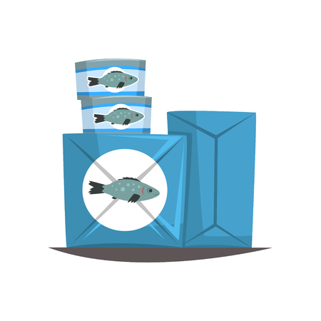 Canned fish, seafood production, fish industry canned process vector Illustration on a white background