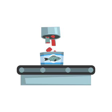 Conveyor belt with canned fish, seafood production, fish industry canned process vector Illustration on a white background