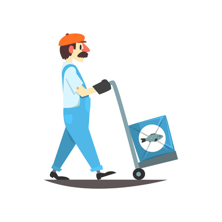 Worker carrying boxes with canned fish on a cart, seafood production, seafood production, fish industry canned process vector Illustration on a white background