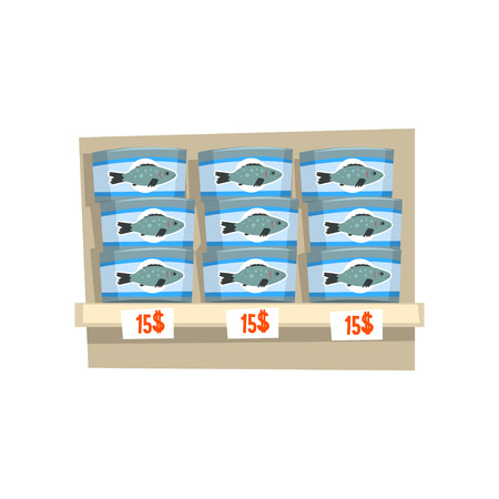 Canned fish on store shelf, seafood production, fish industry canned process vector Illustration on a white background 스톡 콘텐츠 - 100477351