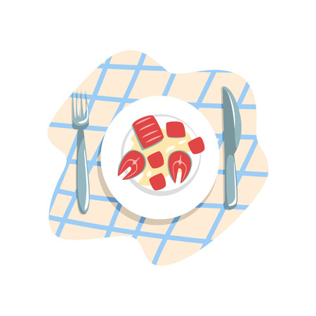 Cooked fish on a plate vector Illustration on a white background Standard-Bild - 100477348
