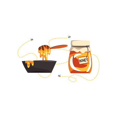 Glass jar with honey and dipper, apiary honey production vector Illustration on a white background