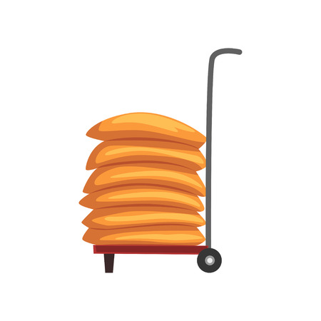 Sacks of flour on a cart vector Illustration on a white background