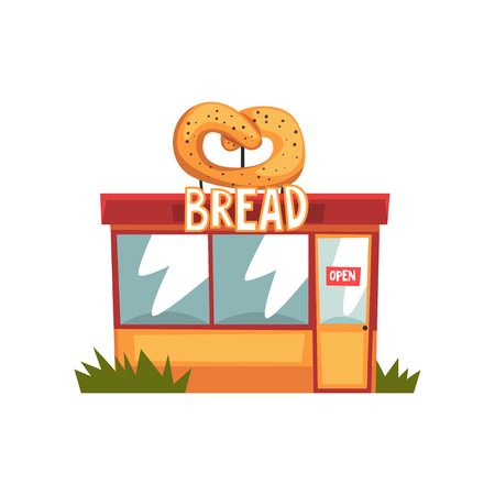 Bread shop, building facade with sign board vector Illustration on a white background