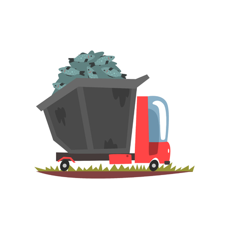 Truck carrying fresh raw fish vector Illustration on a white background Illustration
