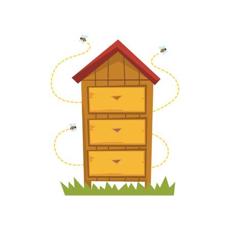 Houten bijenkorf vector illustratie op een witte achtergrond
