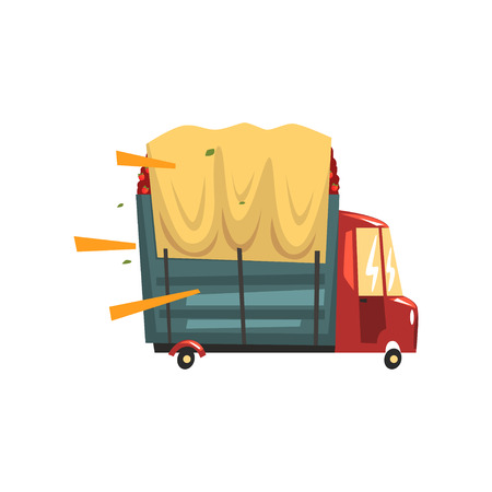 Truck loaded with red apples vector Illustration Illustration