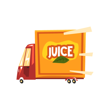 Juice delivery service truck vector Illustration