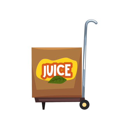 Box of juice on a cart vector Illustration Illustration