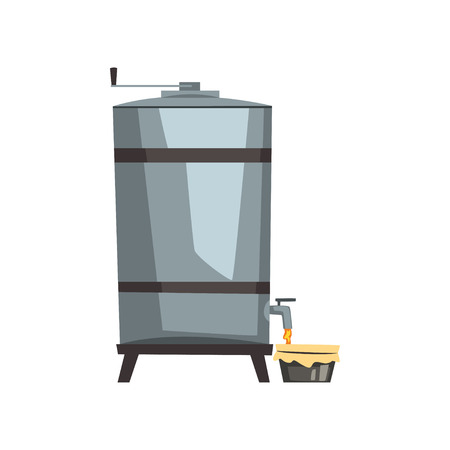 Honey storage, filtration and pasteurization equipment vector Illustration on a white background