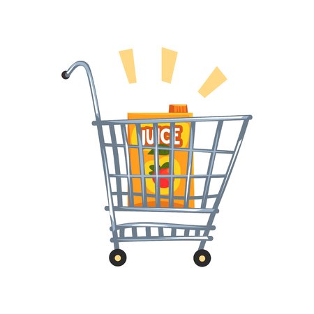 Shopping cart with apple juice vector Illustration on a white background Illustration