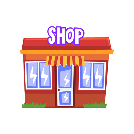 Shop building vector Illustration on a white background Stock Illustratie