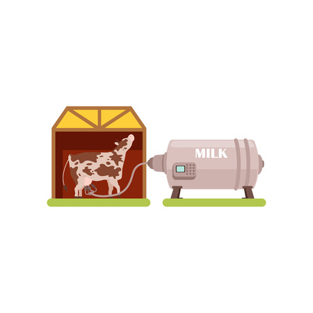 Cow and a milking machine, production of milk, dairy industry vector Illustration isolated on a white background. 일러스트