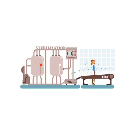 Milk sterilization conveyor line with smiling worker, production of milk, dairy industry vector Illustration on a white background. Stock Illustratie