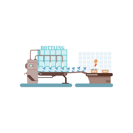 Bottling of milk conveyor line, production of milk, dairy industry vector Illustration isolated on a white background.