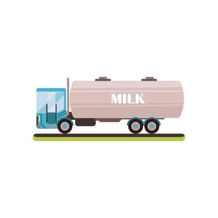Milk tanker truck vector Illustration isolated on a white background. Иллюстрация
