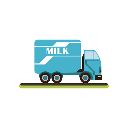 Dairy milk delivery service truck vector Illustration isolated on a white background. Foto de archivo - 100533067