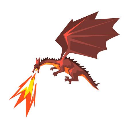 Dragón rojo escupiendo fuego, ilustración de vector animal de respiración de fuego mítico.