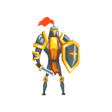 Armored knight warrior character vector Illustration on a white background. Ilustrace