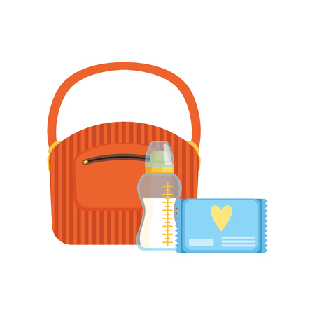 Bag, baby bottle of milk and pack of wet wipes, feeding and caring for a child vector Illustration isolated on a white background. Illustration