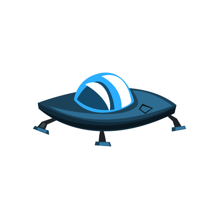 Ufo spaceship cartoon vector Illustration isolated on a white background.