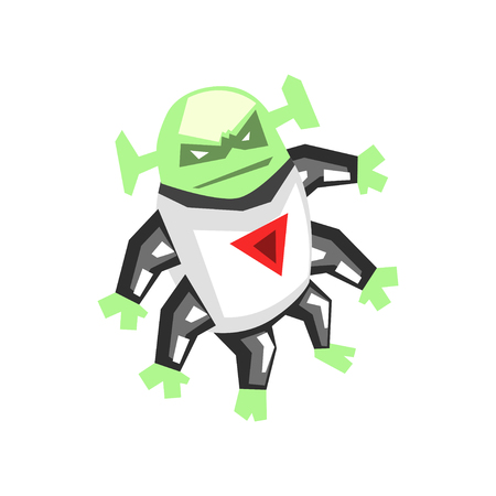 Allien, angry monster with six legs character cartoon vector Illustration isolated on a white background. Illustration