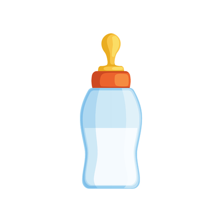 Baby milk bottle vector Illustration isolated on a white background.