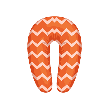 Orange neck pillow vector Illustration isolated on a white background.