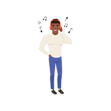 Young african american man listening to music with headphones vector Illustration isolated on a white background. Illustration