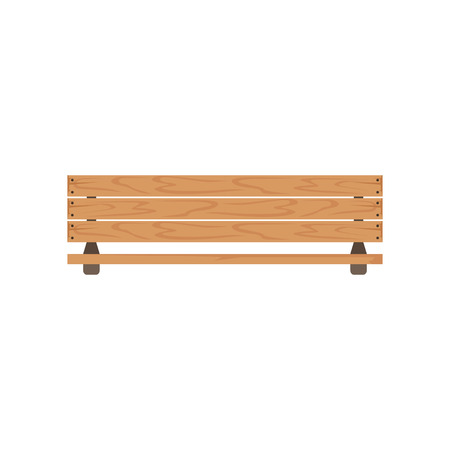Wooden outdoor bench, urban infrastructure element vector Illustration isolated.