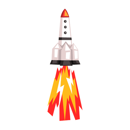 Rocket, space ship cartoon vector Illustration on a white background.