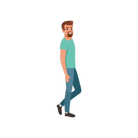 Young bearded man standing sideways. Handsome guy with cheerful face expression. Cartoon male character in blue jeans and turquoise t-shirt. Colorful flat vector design isolated on white background.